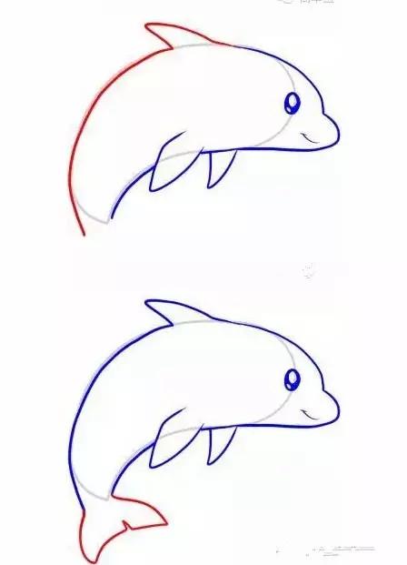 如何画海豚 海豚简笔画步骤图1