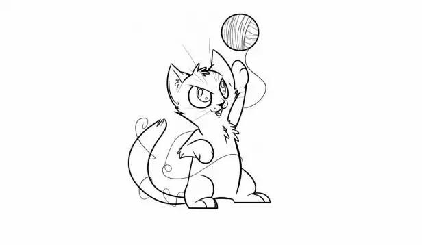 每日简笔画 学画小猫咪玩毛线球